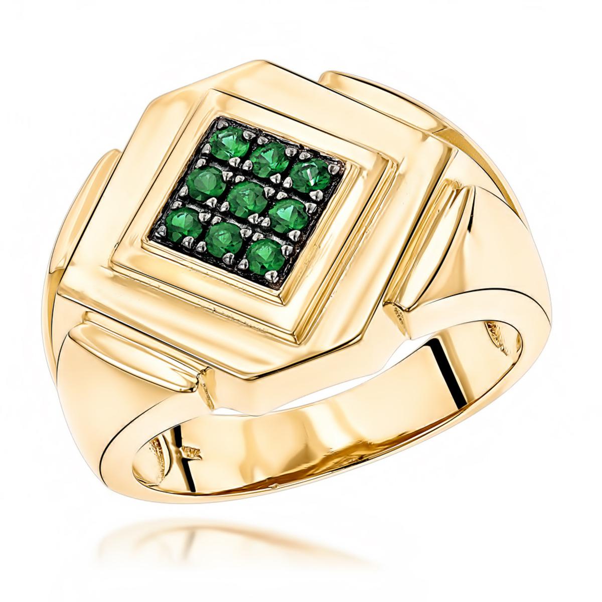 14K Gold Emerald Mens Ring by Luxurman