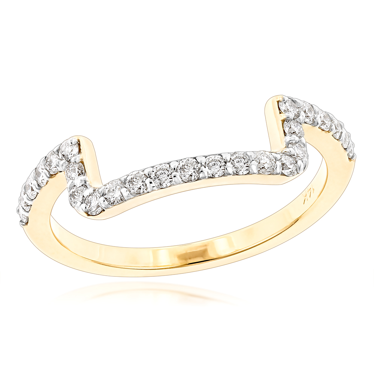 14K Gold Engagement Ring Matching Diamond Wedding Band for Women 0.45ct