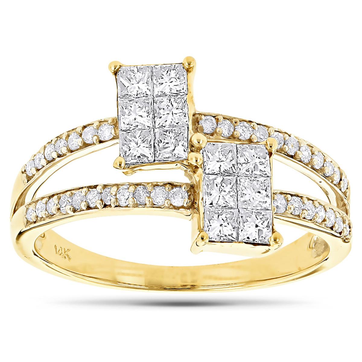 14K Gold Engagement Ring w Princess Cut Diamonds .95ct