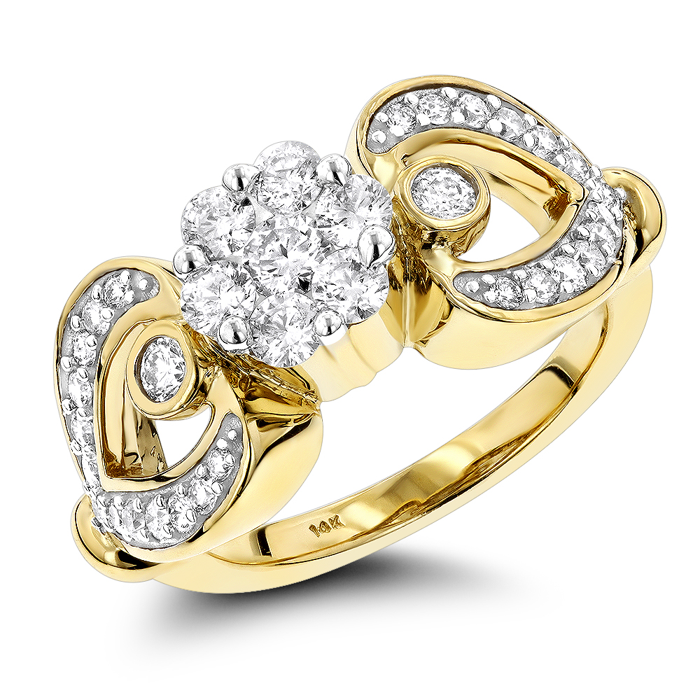 14K Gold Floral Diamond Engagement Ring 1 ct