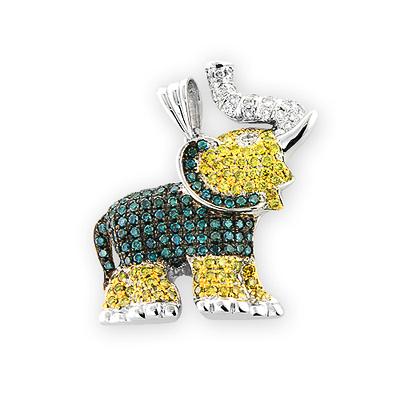 14k Gold Good Luck Diamond Elephant Charm Pendant