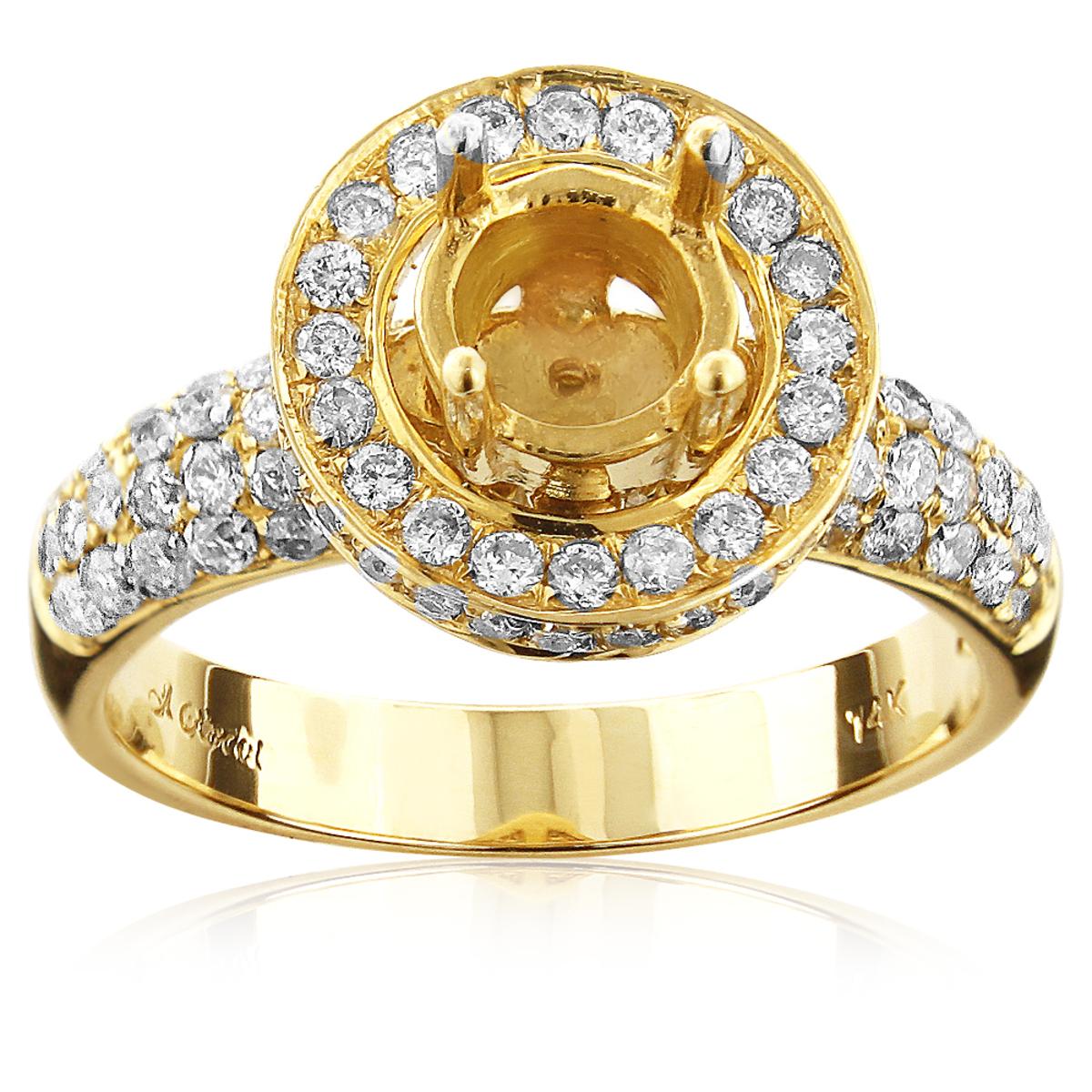 14K Gold Halo Diamond Engagement Ring Mounting 1.33ct