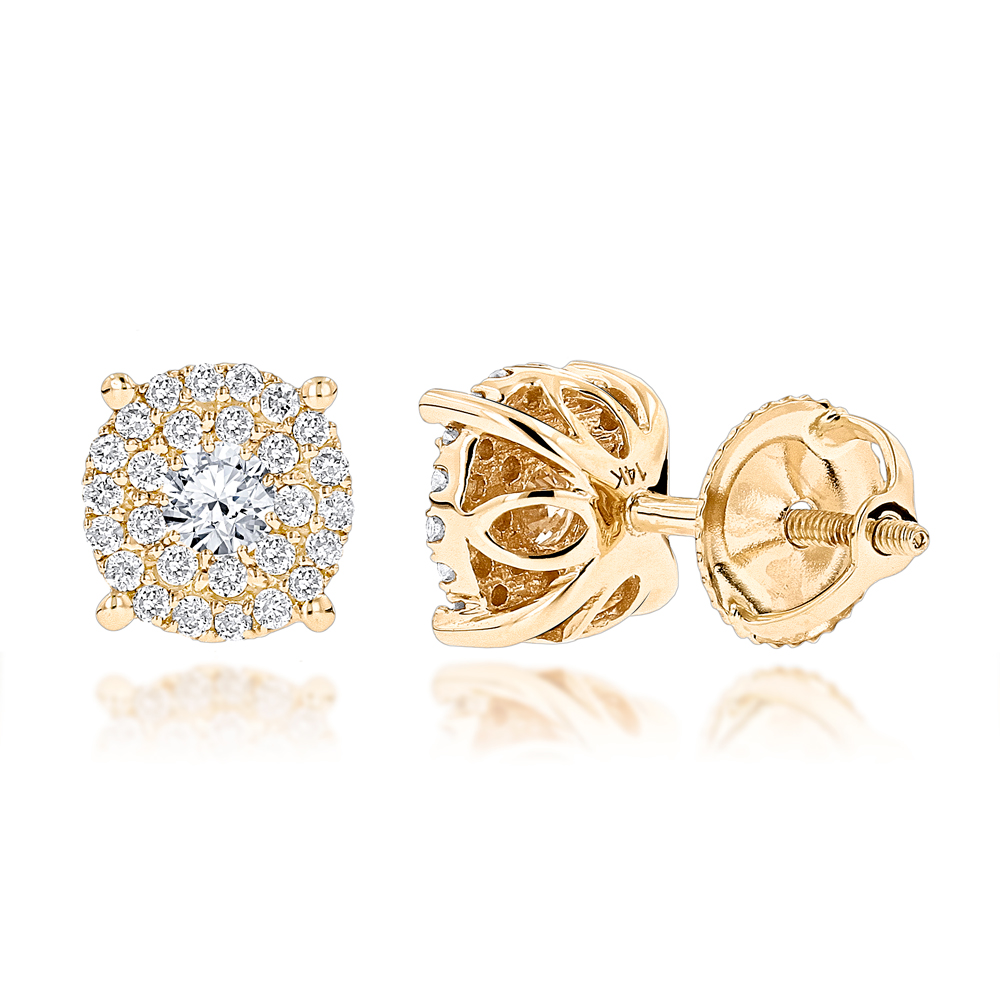 14K Gold Halo Round Stud Diamond Earrings 0.6ct Clusters