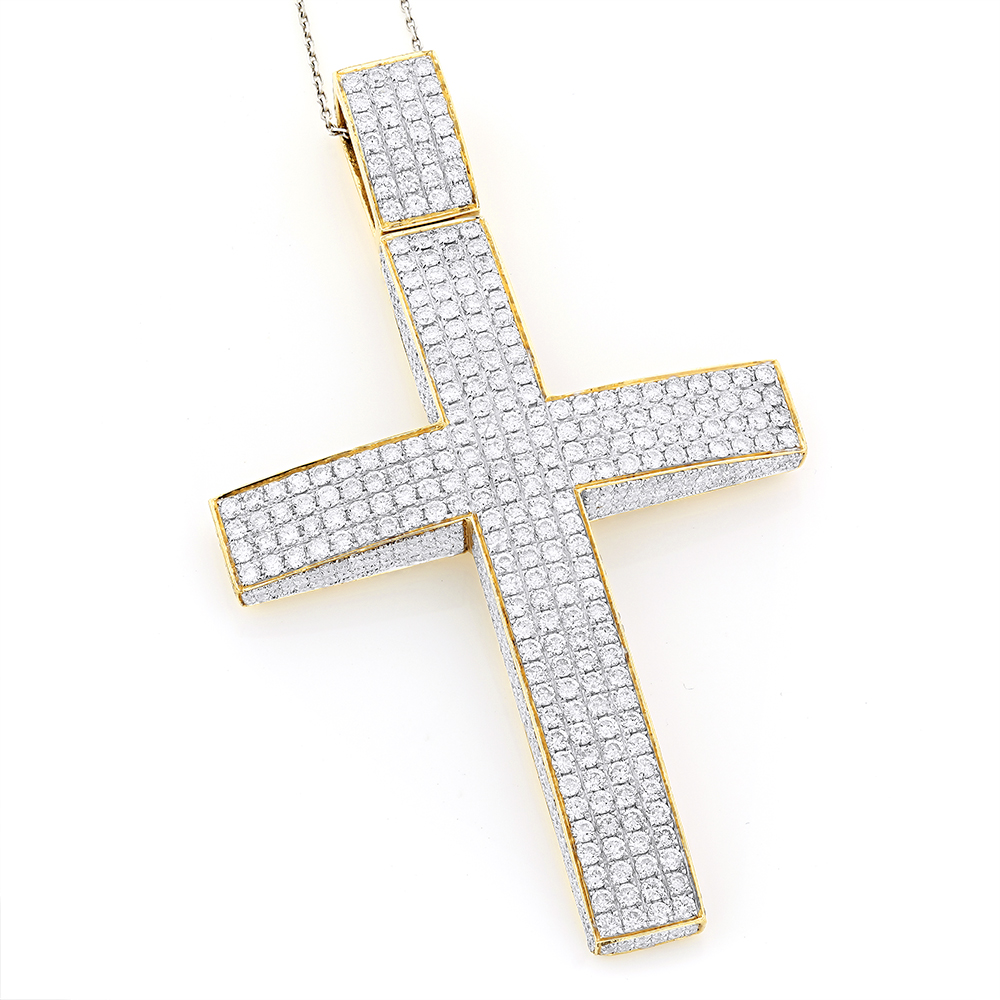 14K Gold Iced Out Mens Diamond Cross Pendant 11ct
