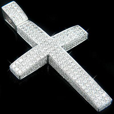 14K Gold Iced Out Mens Diamond Cross Pendant 7.55ct