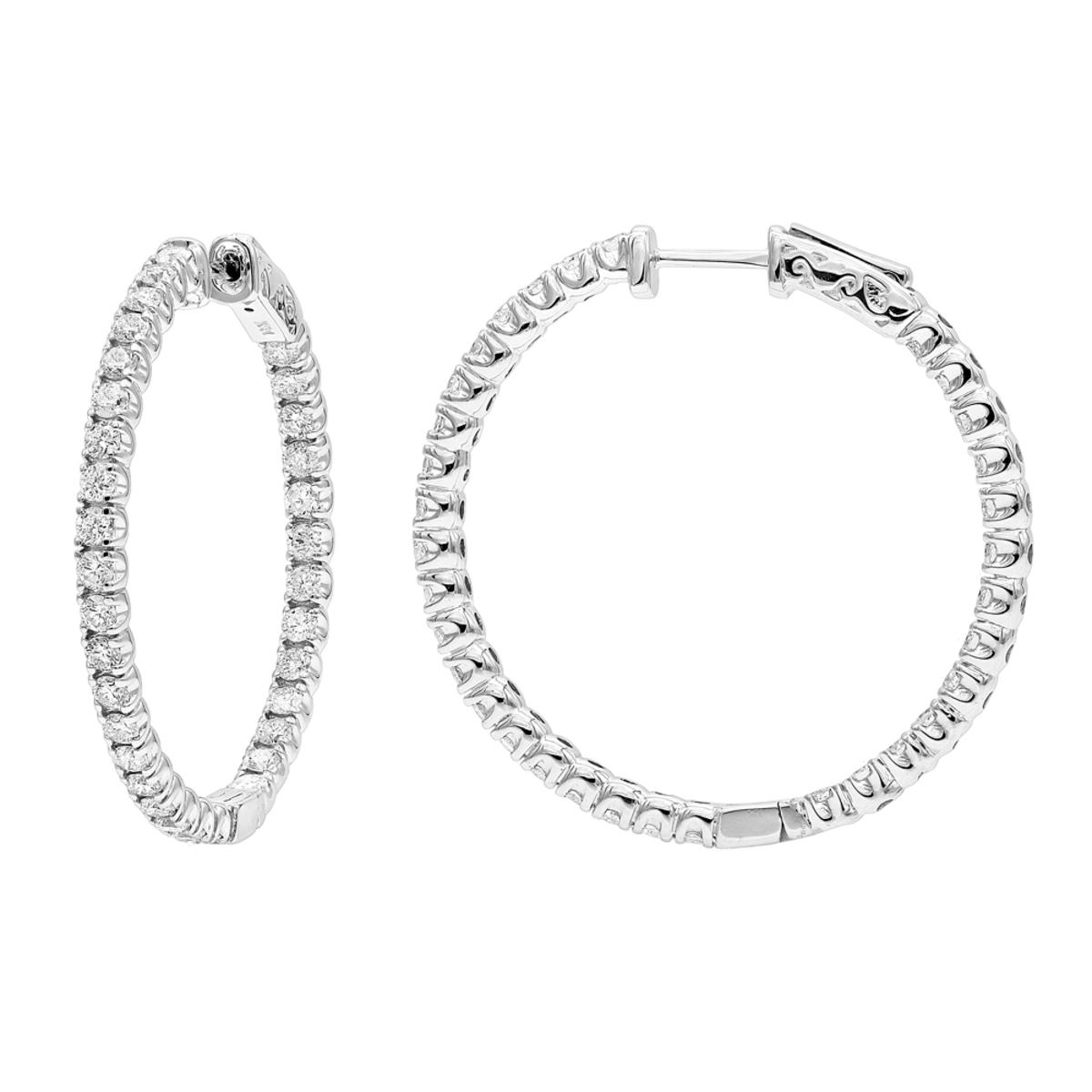 14K Gold Inside Out 3 carat Hoops Diamond Earrings for Women by Luxurman