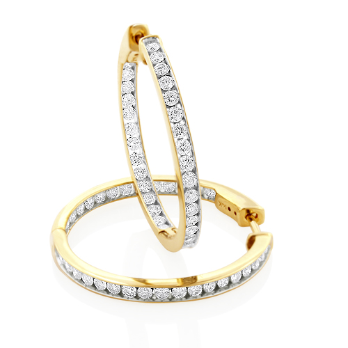14K Gold Inside Out Channel Set Diamond Hoop Earrings 2.69ct