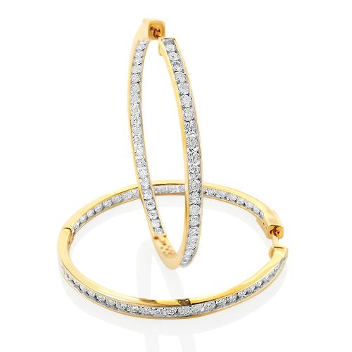 14K Gold Inside Out Channel Set Diamond Hoop Earrings 4.1ct