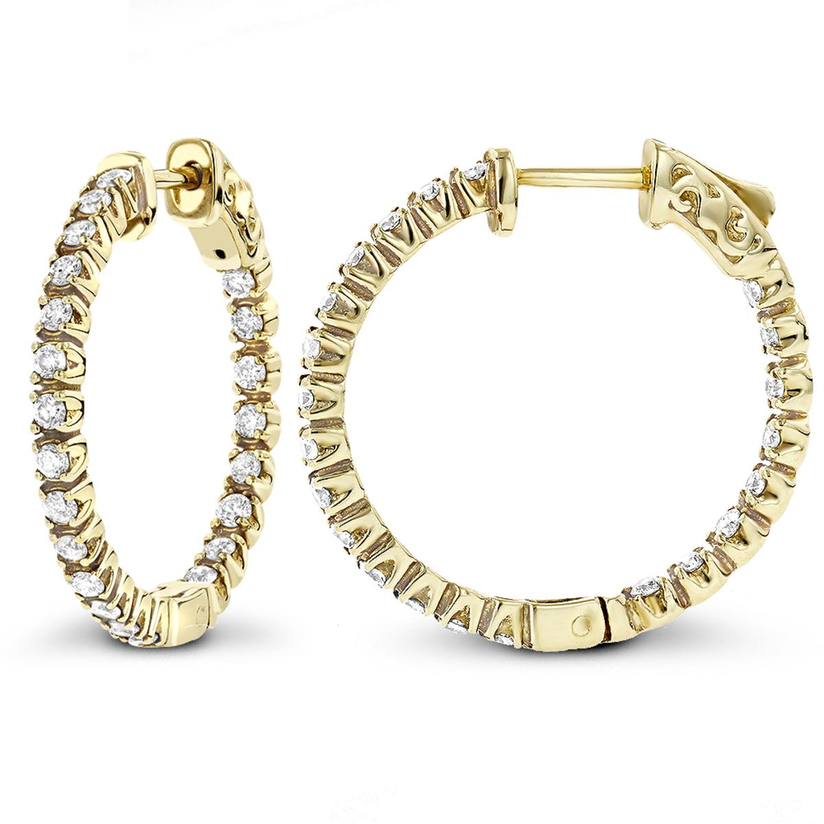 14K Gold Inside Out Diamond Hoop Earrings 1 ct