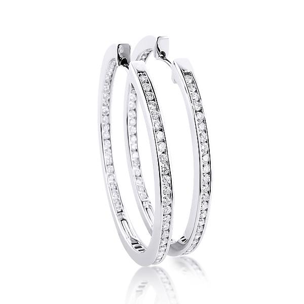 14K Gold Inside Out Diamond Hoop Earrings 4.6ct