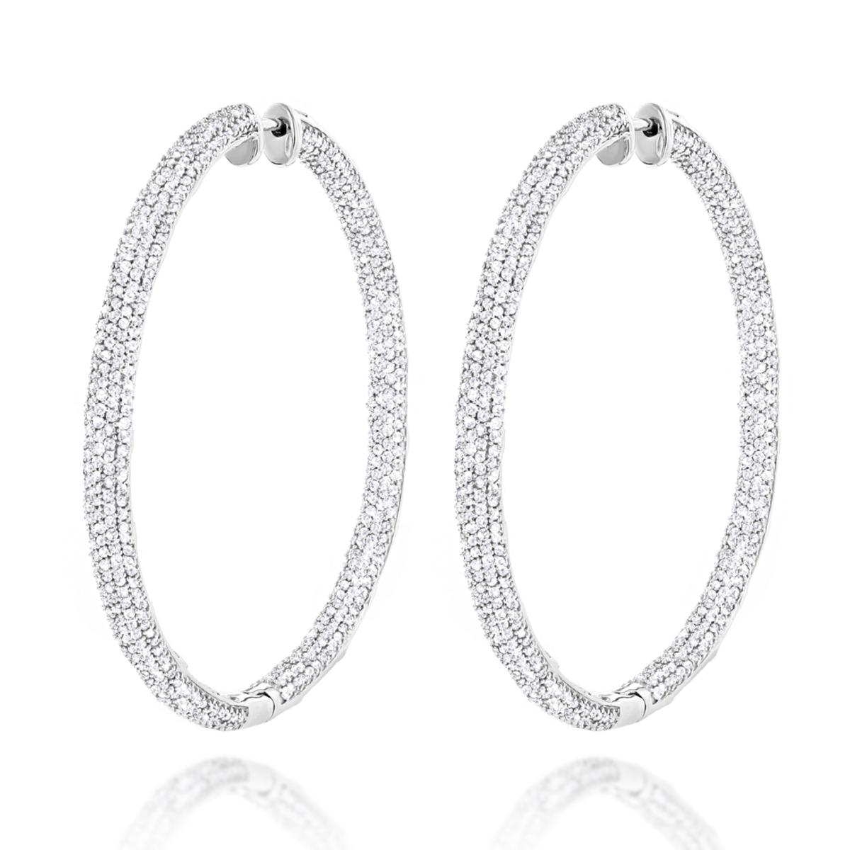 14K Gold Inside Out Diamond Hoop Earrings 5.40ct