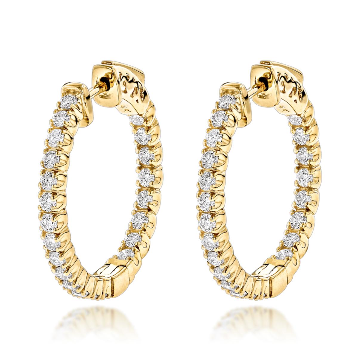 14K Gold Inside Out Diamond Hoop Earrings for Women 1.3ct 3/4in by Luxurman