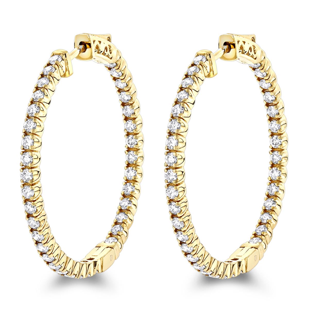 14K Gold Inside Out Diamond Hoop Earrings for Women by Luxurman 2.1ct