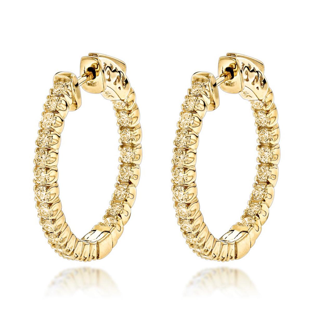 14K Gold Inside Out Yellow Diamond Hoop Earrings 1.33ct by Luxurman