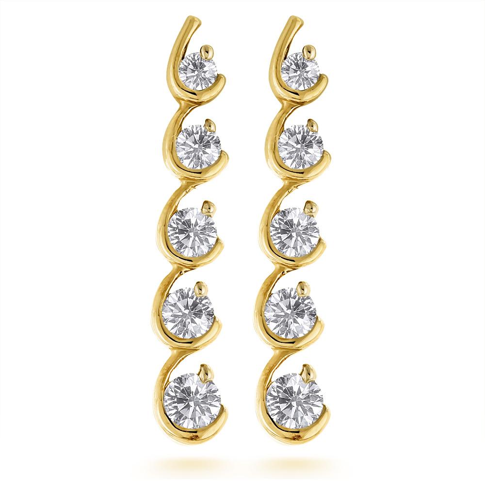 14K Gold Journey Diamond Earrings For Women 1.33ct