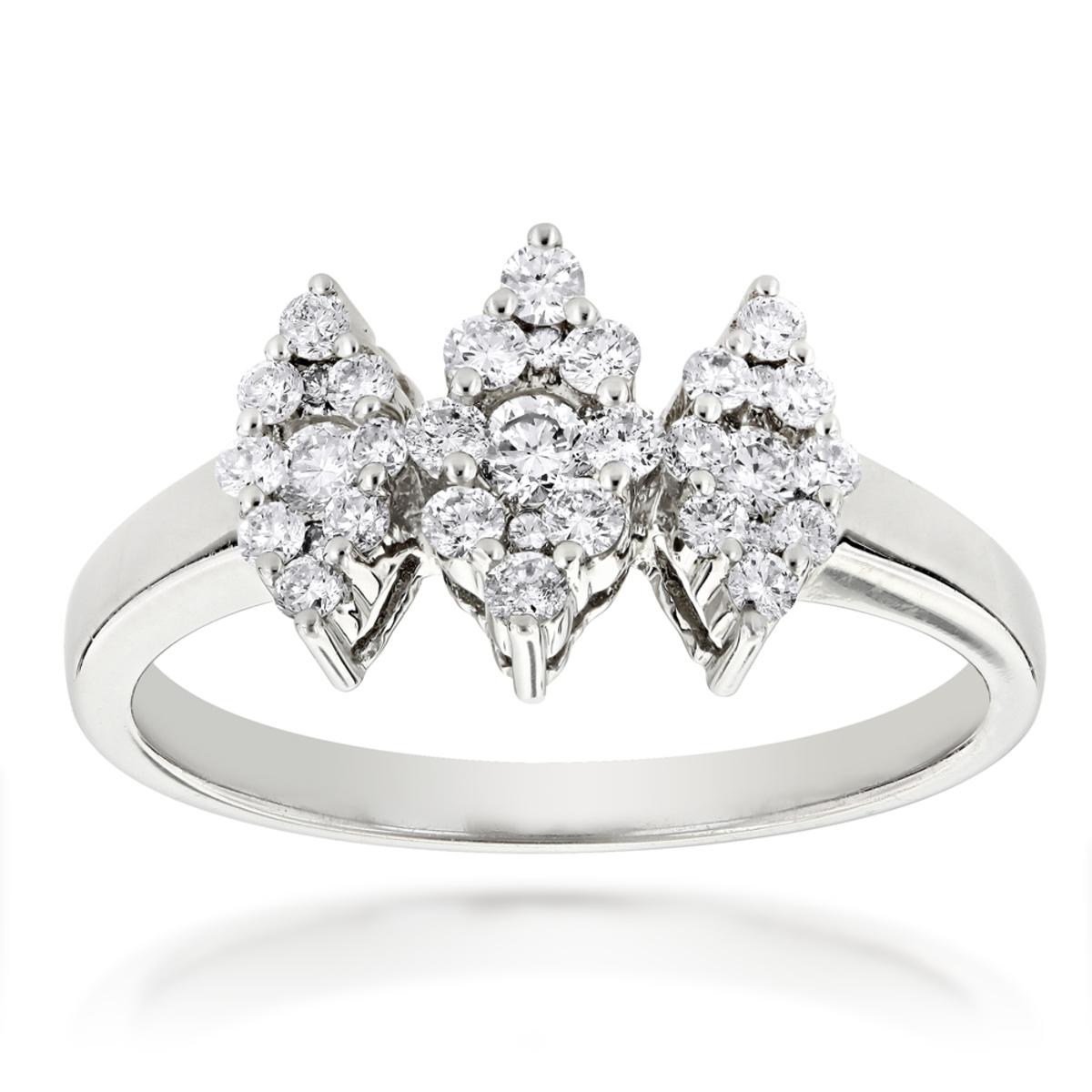 14K Gold Ladies Cluster Diamond Ring 0.63ct Three Stone Ring Design