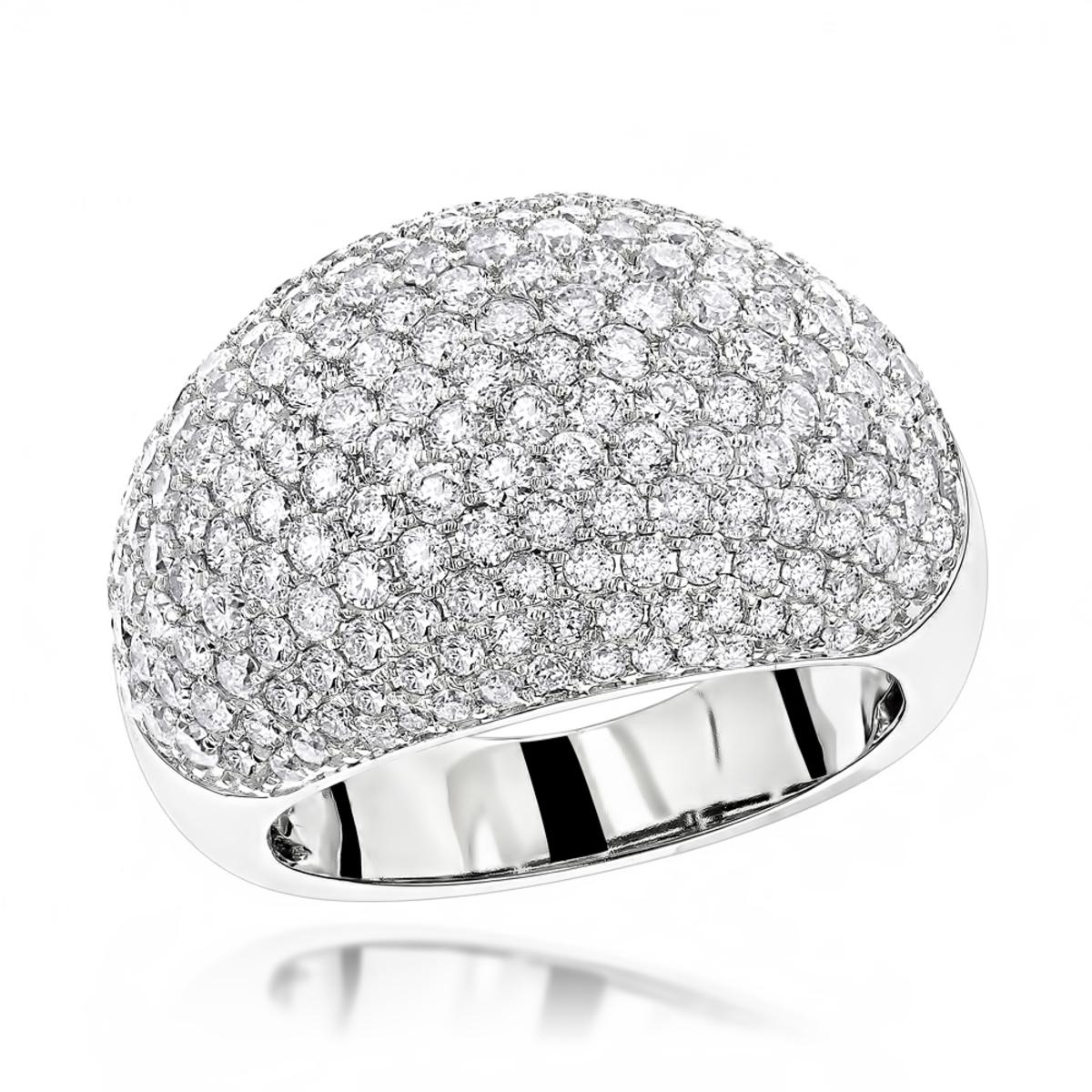 14K Gold Ladies Designer Pave Diamond Ring 3.5ct