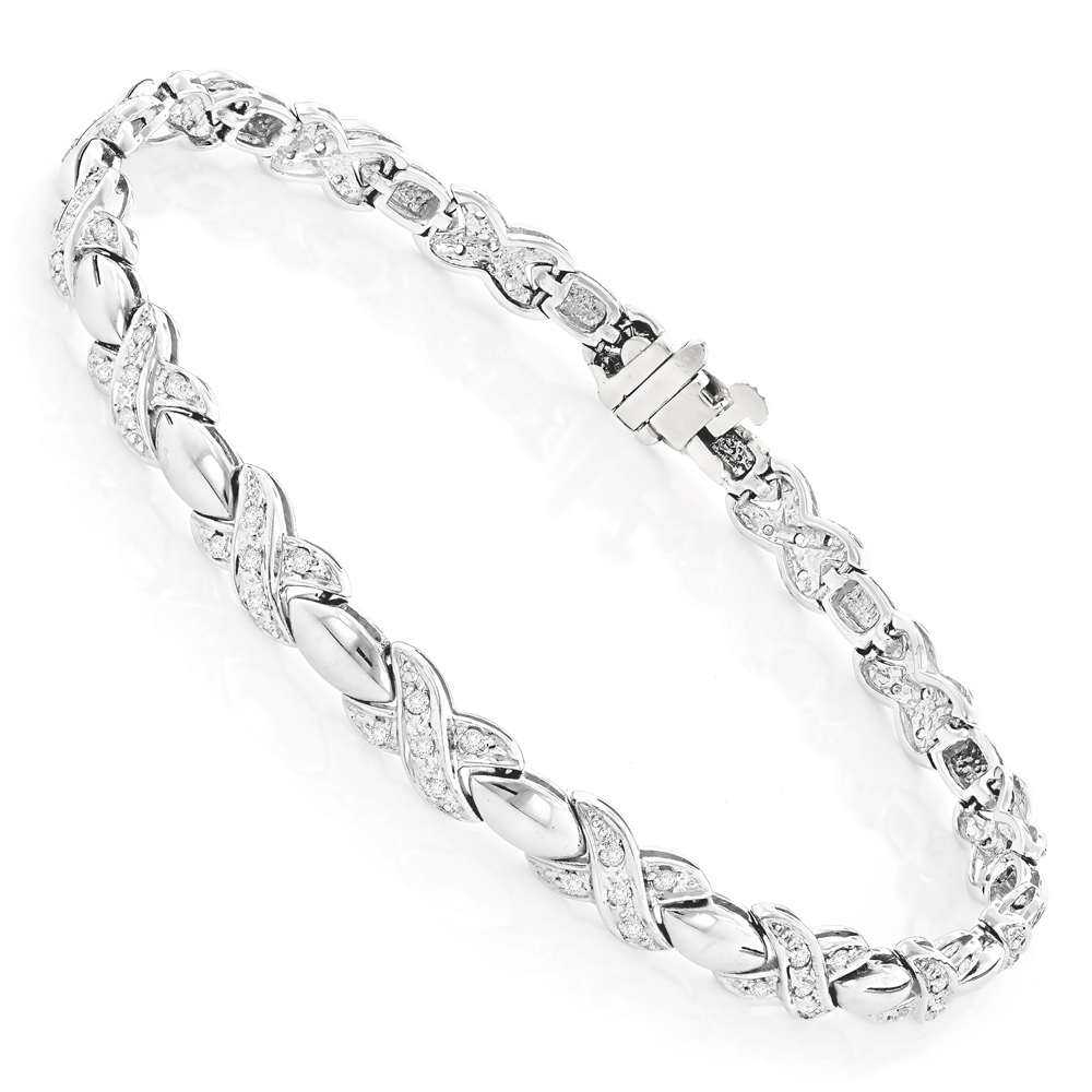 14K Gold Ladies Diamond Bracelet 0.8ct