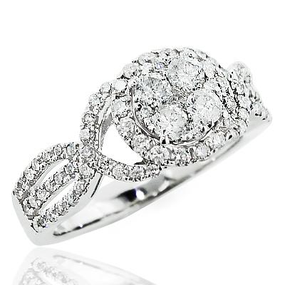 14K Gold Ladies Diamond Cluster Ring 1.5ct Engagement Ring