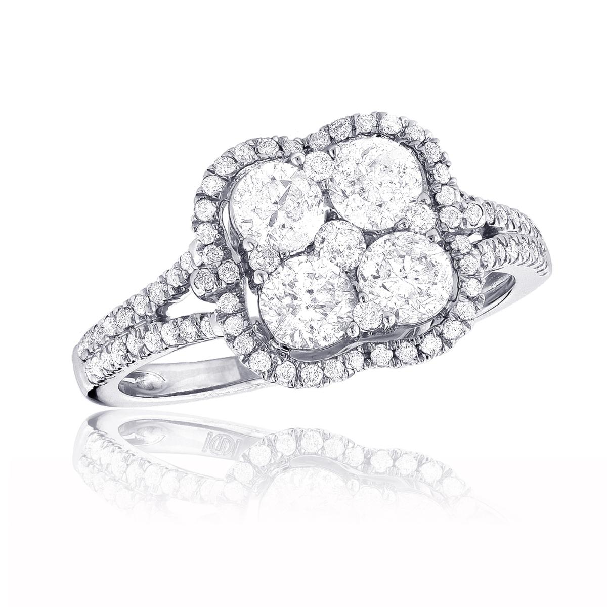 14K Gold Ladies Diamond Cluster Ring 1.8ct Unique Halo Engagement Ring