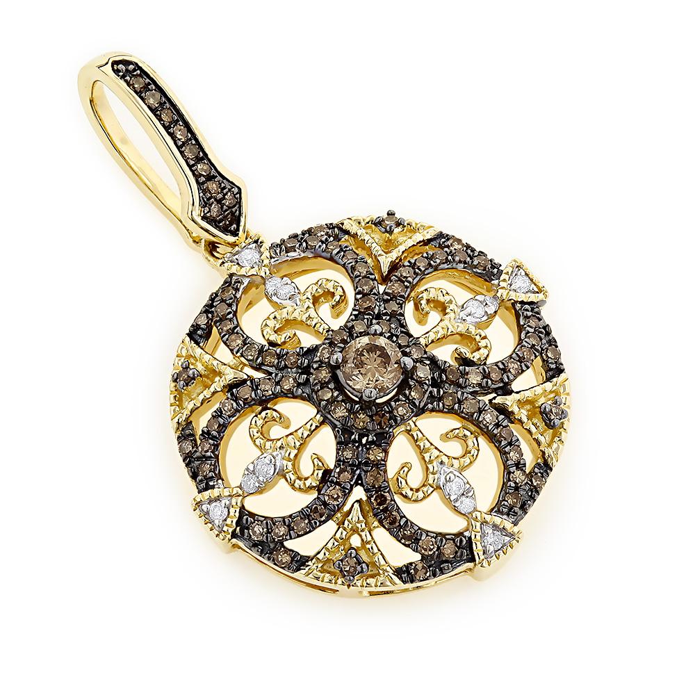 14K Gold Ladies Diamond Pendant 0.6ct White and Champagne Diamonds