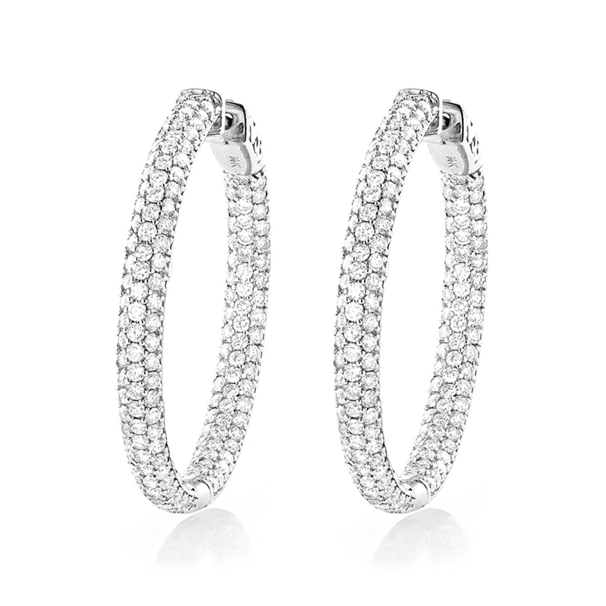 14K Gold Ladies Inside Out Diamond Hoop Earrings 5ct 1.5in