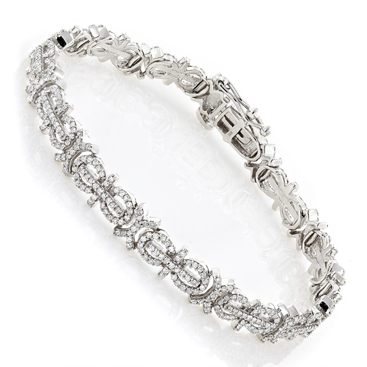 14K Gold Ladies Pave Diamond Bracelet 2.27ct