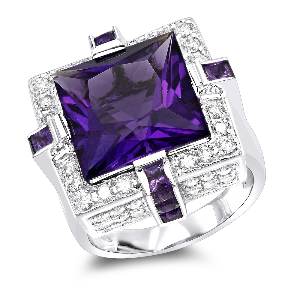 14K Gold Large Diamond Amethyst Cocktail Ring for Women by Luxurman 14ct