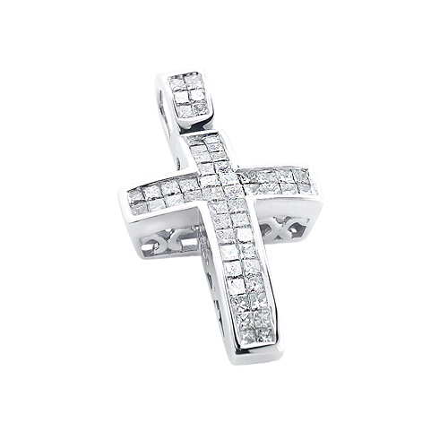 14K Gold Medium Size Princess Diamond Cross Pendant 1.5ct