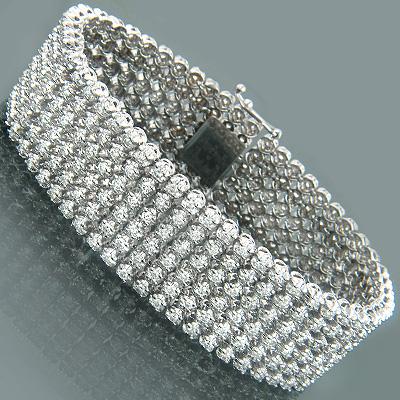 14K Gold Mens 6-Row Flexible Diamond Bracelet 10.43ct