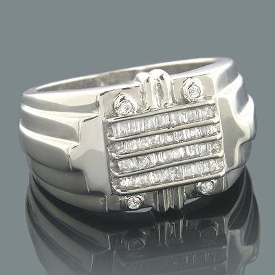 14K Gold Mens Baguette Diamond Ring 0.65ct
