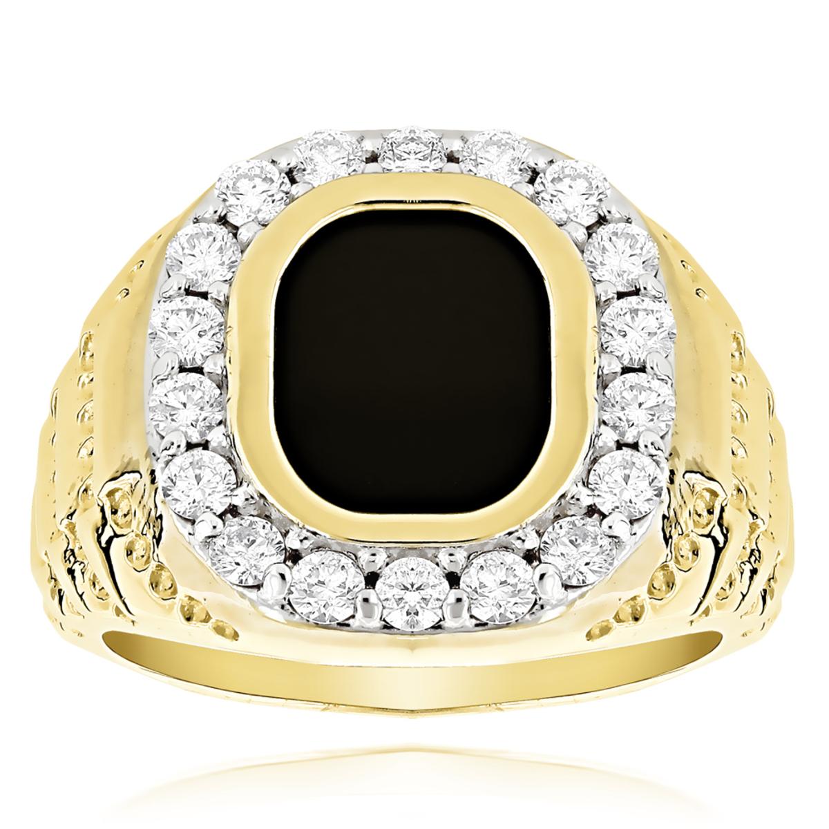 14K Gold Nugget Mens Black Onyx Diamond Ring 1.5ct