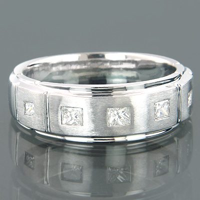 14K Gold Mens 5 Stone Diamond Wedding Ring 0.5ct