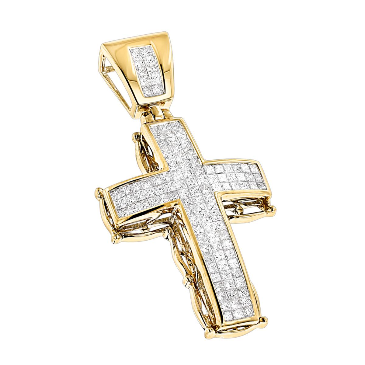 14K Gold Mens Cross Pendant w Princess Diamonds 2.25ct