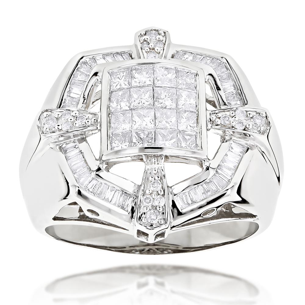14K Gold Mens Designer Diamond Ring 1.98ct