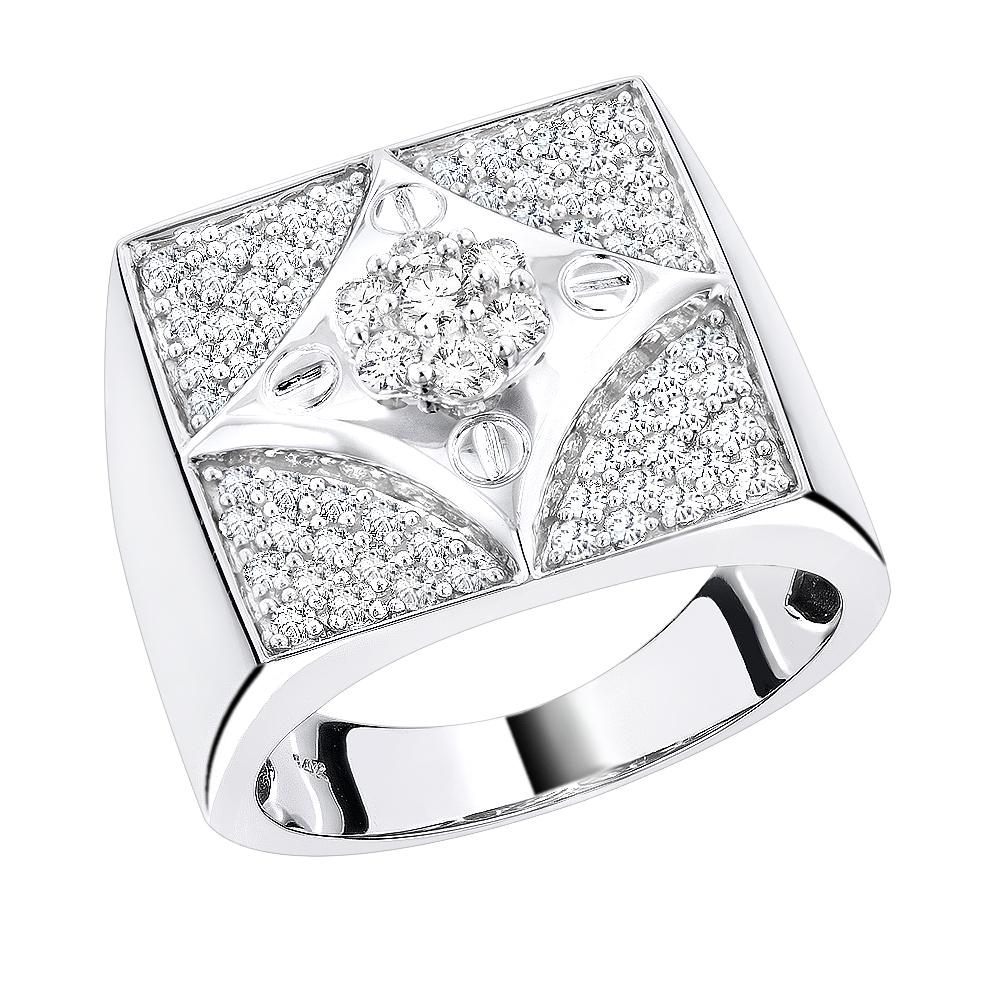 14K Gold Mens Designer Round Diamond Ring 1.55ct