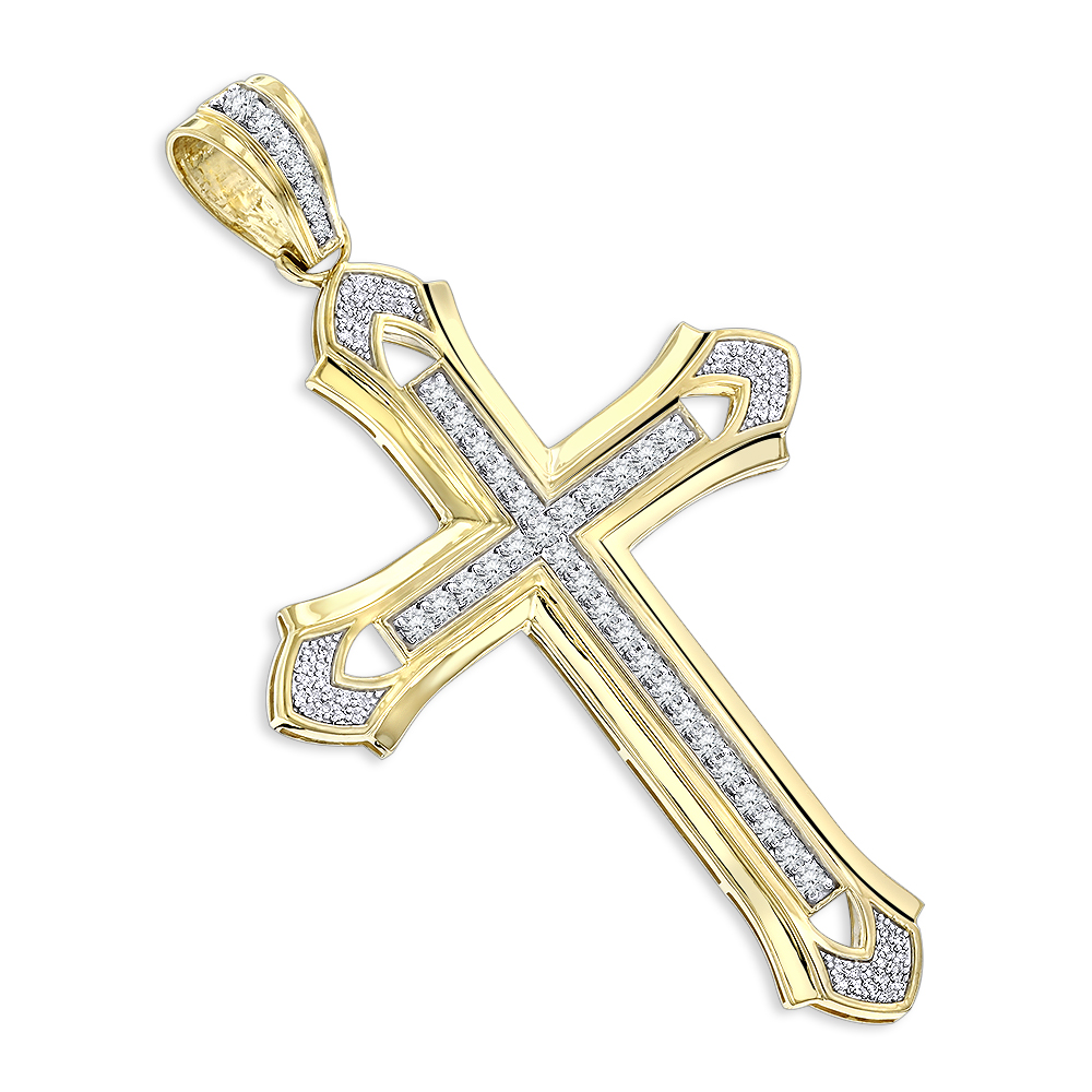 14K Gold Mens Diamond Cross Pendant 2ct