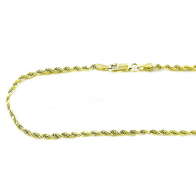 Solid 14K Gold Diamond Cut Rope Chain 2.5mm, 18in - 40in