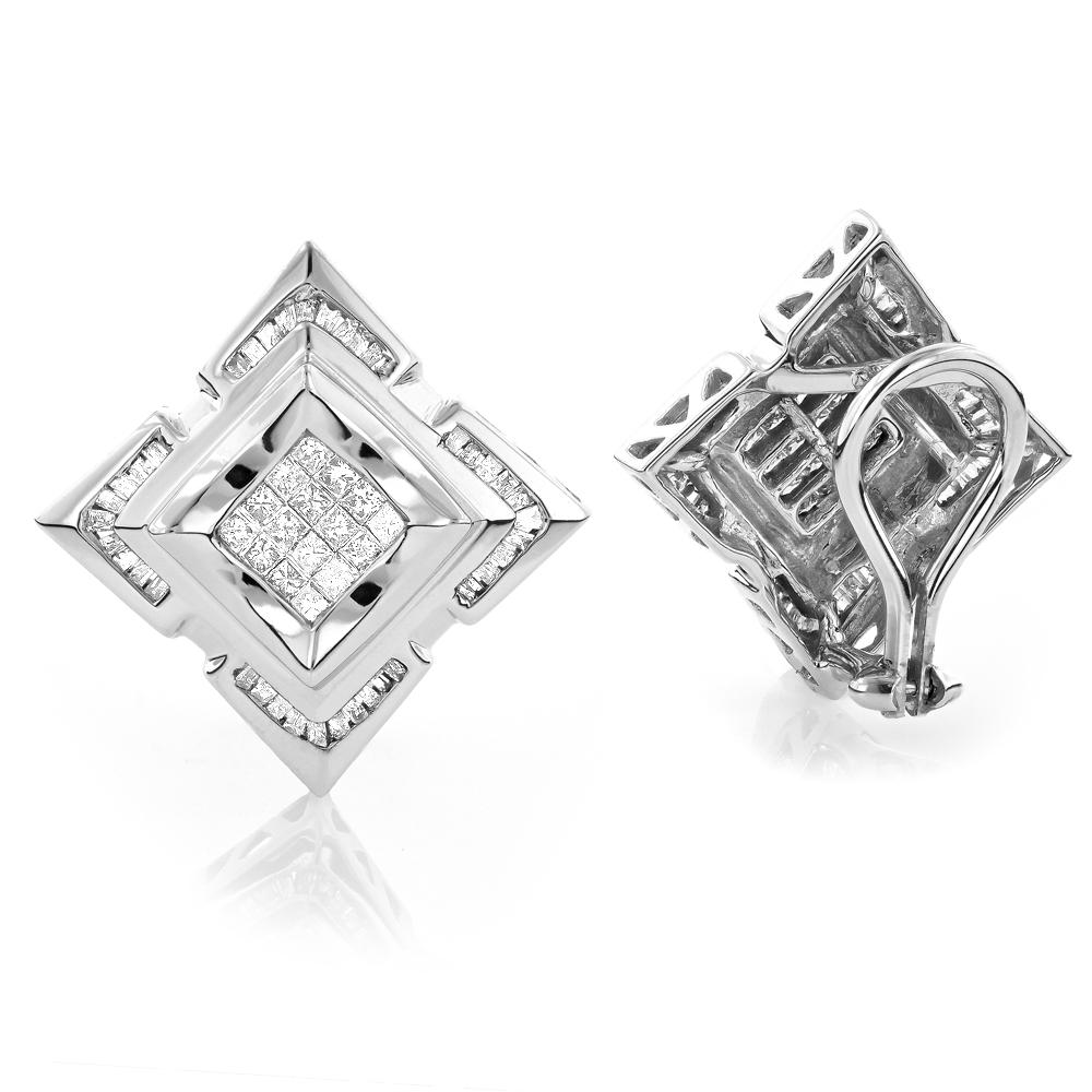 14K Gold Mens Diamond Earrings 1.21ct