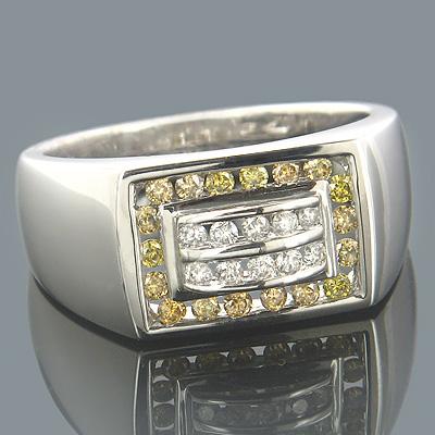 14K Gold Mens Diamond Pinky Ring White Yellow 0.60ct