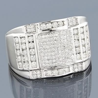 14K Gold Mens Diamond Ring 1.15ct