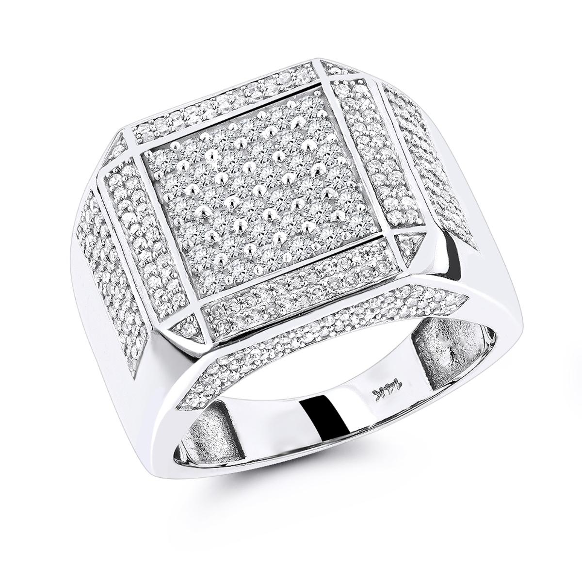 14K Gold Mens Diamond Ring 1.83ct