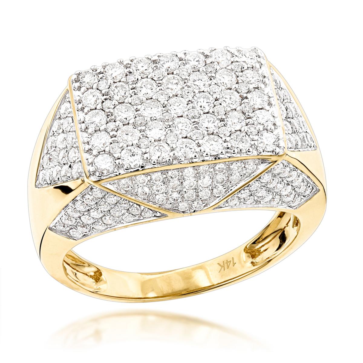 14K Gold Mens Diamond Ring 275ct Pinky Ring