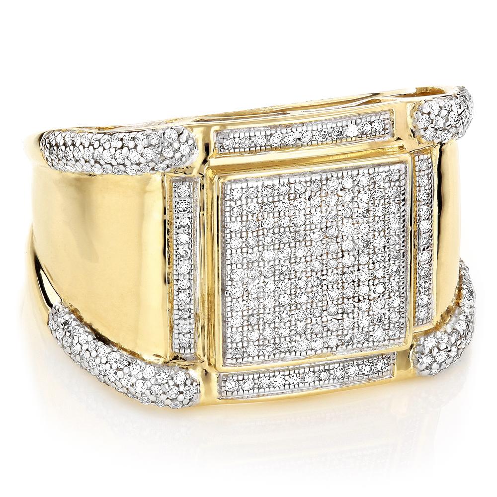 14K Gold Mens Diamond Ring Pave Round Diamonds 1ct