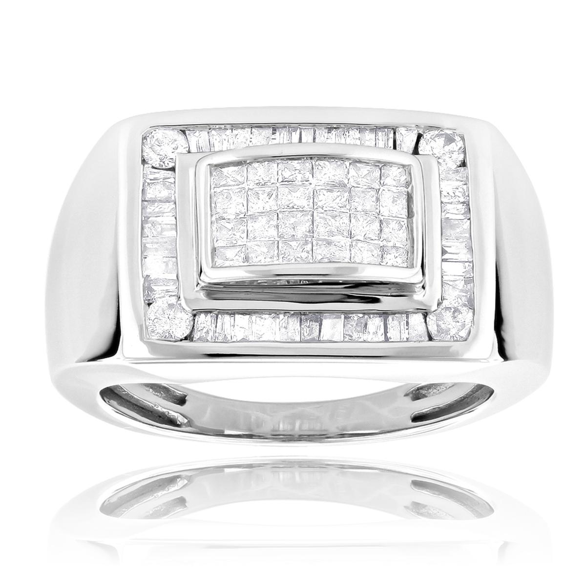 14k Gold Men's Diamond Ring Princess Baguettes 1.4ct