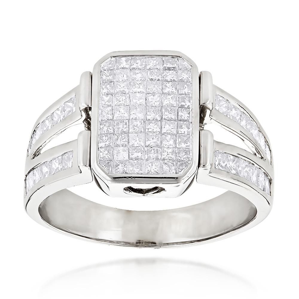 14K Gold Mens Diamond Ring Princess Cut Diamonds 2.53