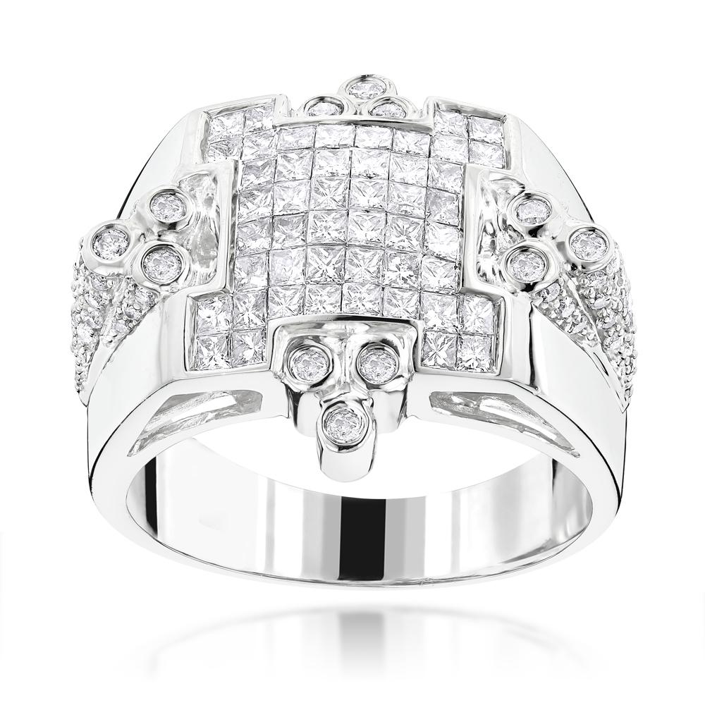 14K Gold Mens Diamond Ring Princess Cut Round 2.49ct