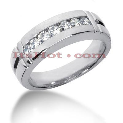 14K Gold Mens Diamond Wedding Band 0.70ct