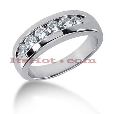 14K Gold Men's Diamond Wedding Band 0.90ct