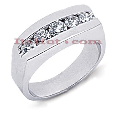 14K Gold Men's Diamond Wedding Band 1.12ct